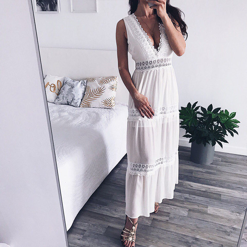 c6a6ad8cd29ee Deep V Elegant White Lace Sexy Dress